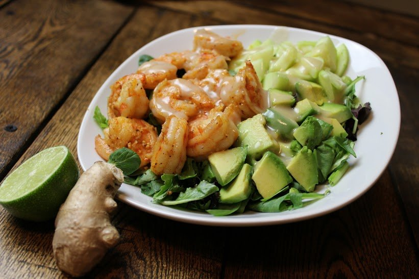 shrimp and avocado salad with miso dressing is one of the testosterone boosting recipes